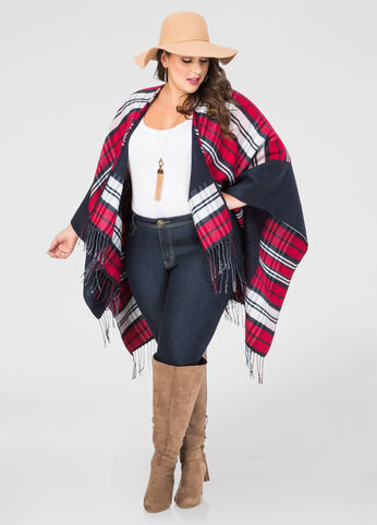 Reversible Fringe Hem Plaid Ruana
