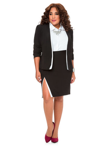 Contrast Trim Crossover Pencil Skirt