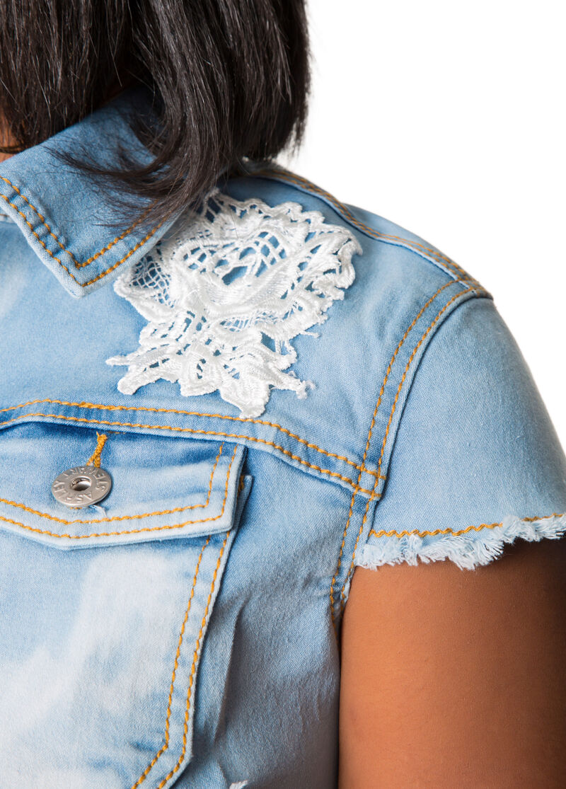 Lace Cap Sleeve Snow Wash Denim Jacket-Plus Size Denim ...