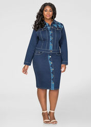 Geo Button Front Jean Skirt