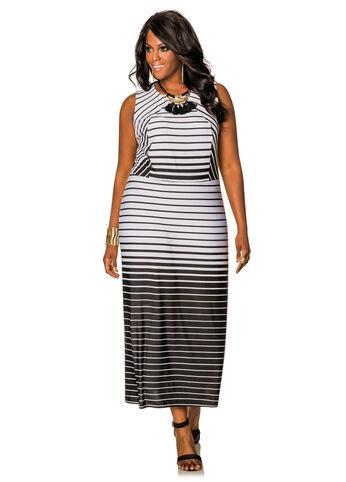 Ombre Gradual Stripe Maxi Dress