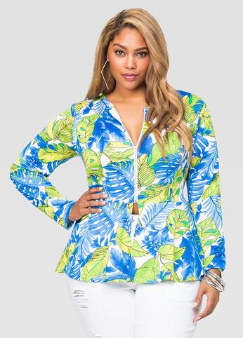 Leaf Print Scuba Peplum Jacket