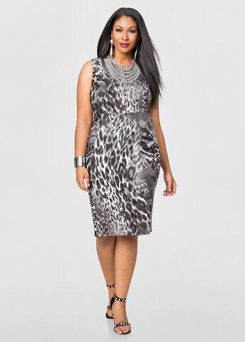 Mixed Animal Sheath Dress