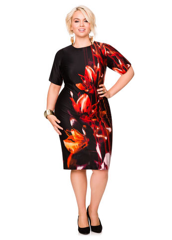 Tropical Print Sheath Dress