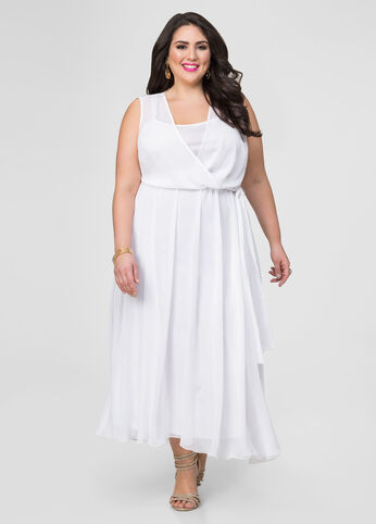 Georgette Surplice Maxi Dress