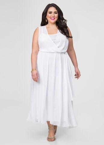Georgette Surplice Maxi Dress