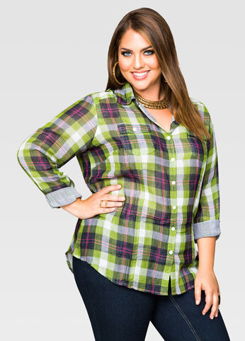 Stripe Lining Plaid Shirt
