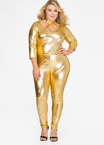 Metallic Mock Neck Catsuit Gold - Tops