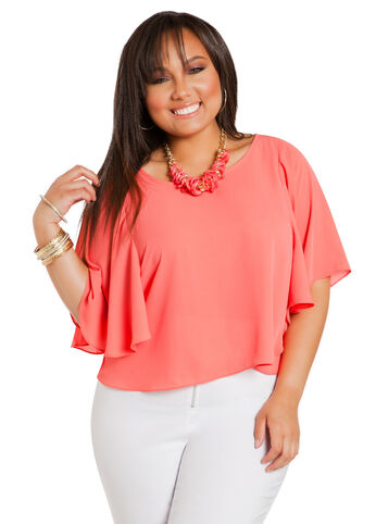 Flutter Sleeve Crop Blouse