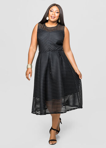 Mesh Stripe A-Line Midi Dress