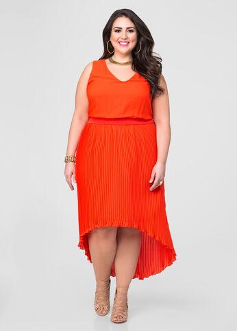 Accordion Pleat Hi-Lo Dress