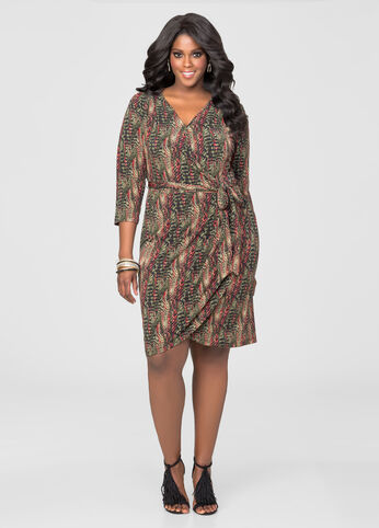 Snake Print Faux Wrap Dress