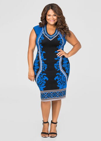 Status Print Bodycon Sweater Dress