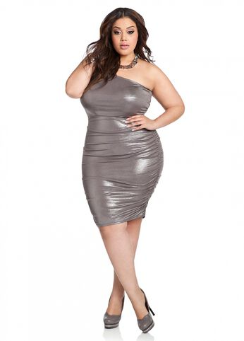 Web Exclusive: Ruched Accent Metallic One-Shoulder Dress
