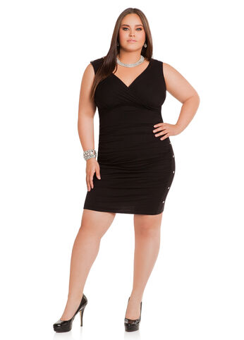 Rouched-Side V-Neck Sleeveless Dress