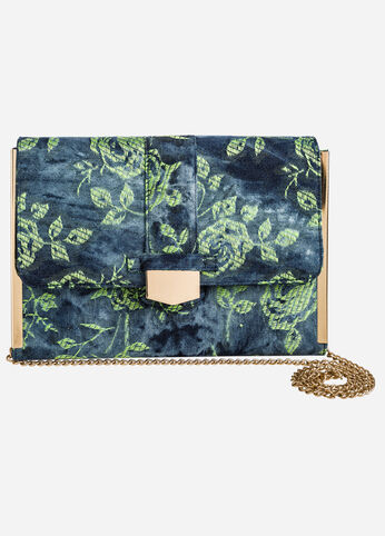 Embroidered Denim Shoulder Bag