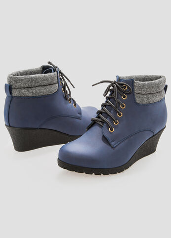 Lace-Up Wedge Boots - Wide Width