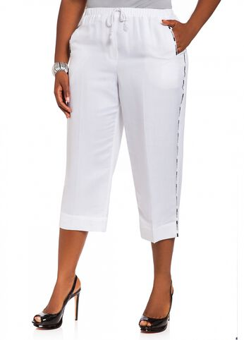 Linen Embroidered Drawstring Crop Pant