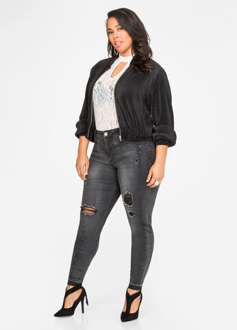 Destructed Release Hem Skinny Jean
