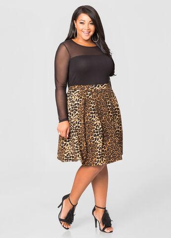 Pleated Animal A-Line Mini Skirt