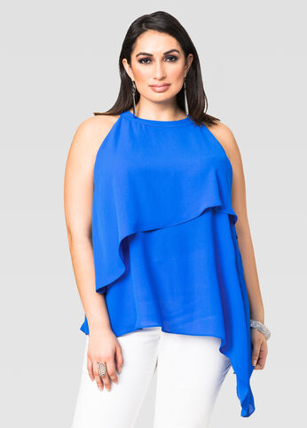 Layered Asymmetrical Halter Top