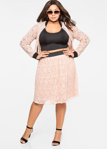 Lace Plissé Pleat Skirt