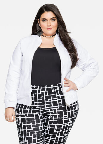 Denim Bomber Jacket White - Clearance