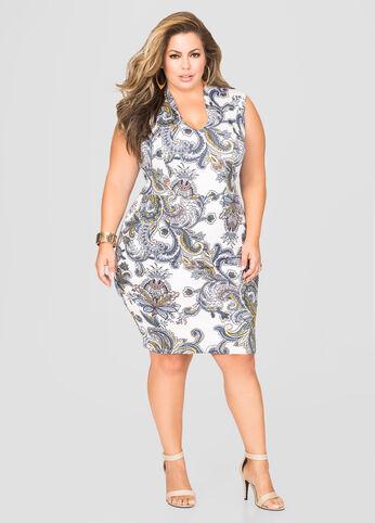 Boho Print U-Neck Dress