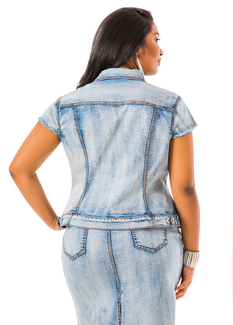 Destructed Cap Sleeve Jean Jacket-Plus Size Denim Jackets ...