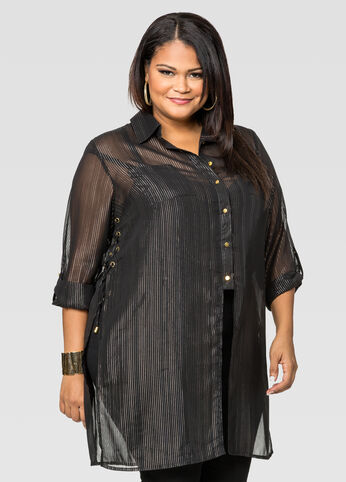 Lace-Up Metallic Pinstripe Tunic