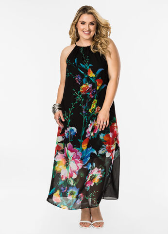 Watercolor Floral Halter Maxi Dress