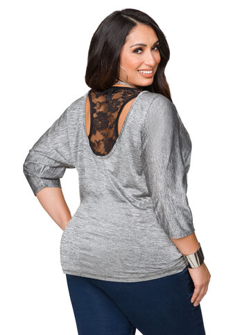 Lace Back Dolman Sleeve Top
