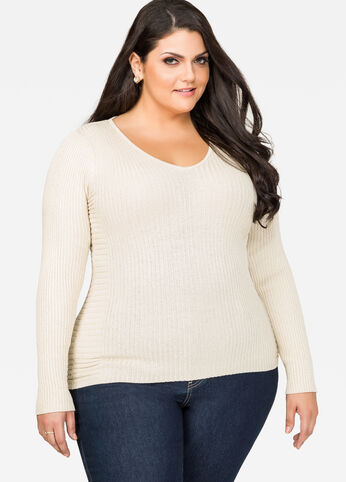 Metallic Ribbed Fitted Sweater
