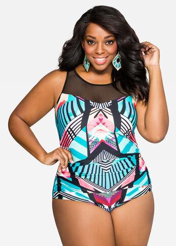 Tropi-Print Power Mesh Swimsuit