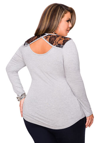 Long Sleeve Lace Back Cut Out Top