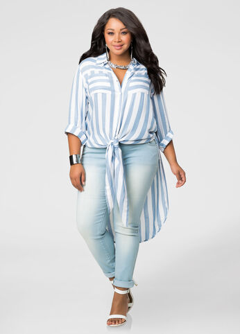 Striped Button Front Duster