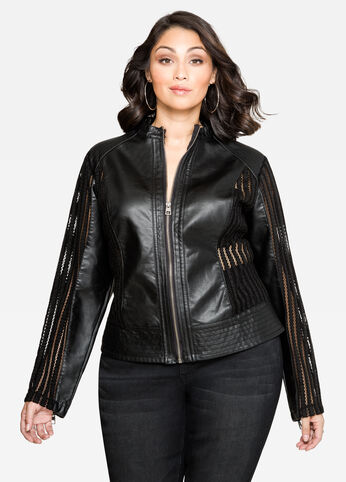 Mesh Panel Faux Leather Jacket