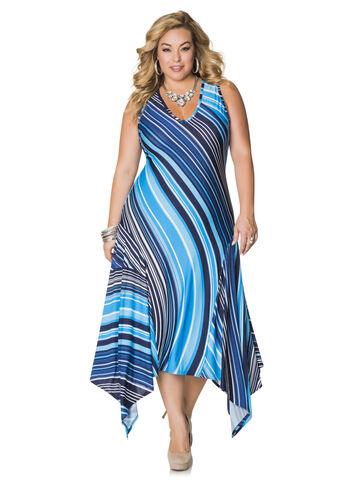 Striped Hanky Hem Maxi Dress