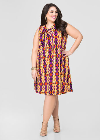 Printed Lace-Up Grommet Dress