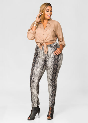 Snake Print Coated Skinny Jean
