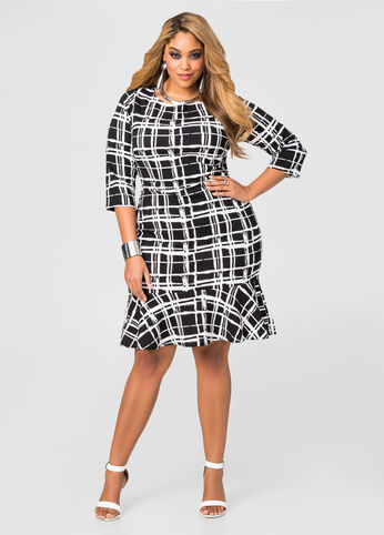 Textured Plaid Flippy Hem Dress