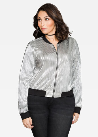 Metallic Plissé Pleat Bomber Jacket