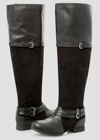 Mixed Media Over The Knee Flat Boot - Wide Width Wide Calf