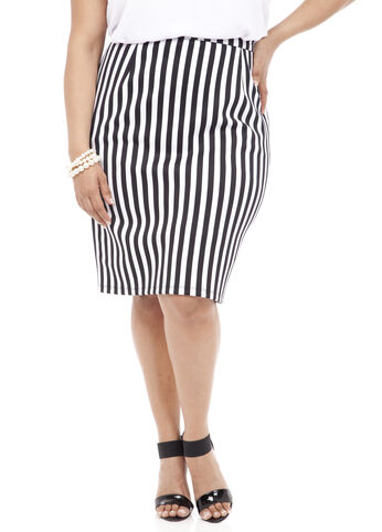 Striped Scuba Pencil Skirt
