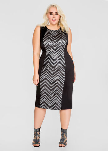 Chevron Sequin Bodycon Sheath Dress