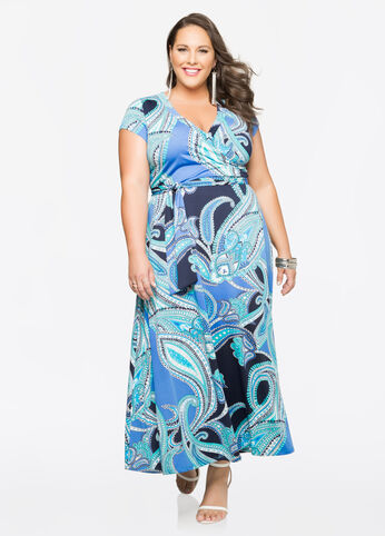 Paisley Surplice Maxi Dress