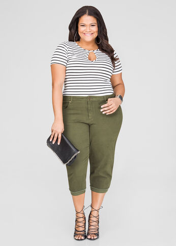 Twill Capri Pants plus size,  plus size fashion plus size appare