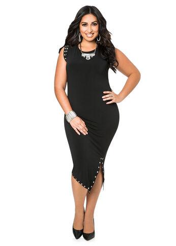 Studded Front Slit Dress