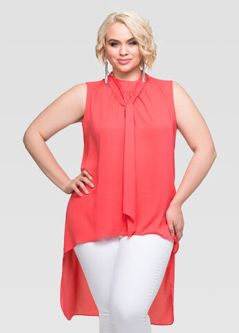 Hi-Lo Tie Neck Top