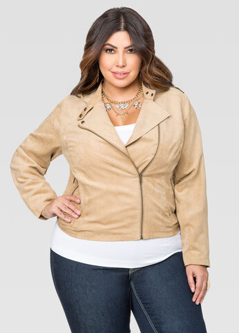 Cropped Micro Suede Moto Jacket